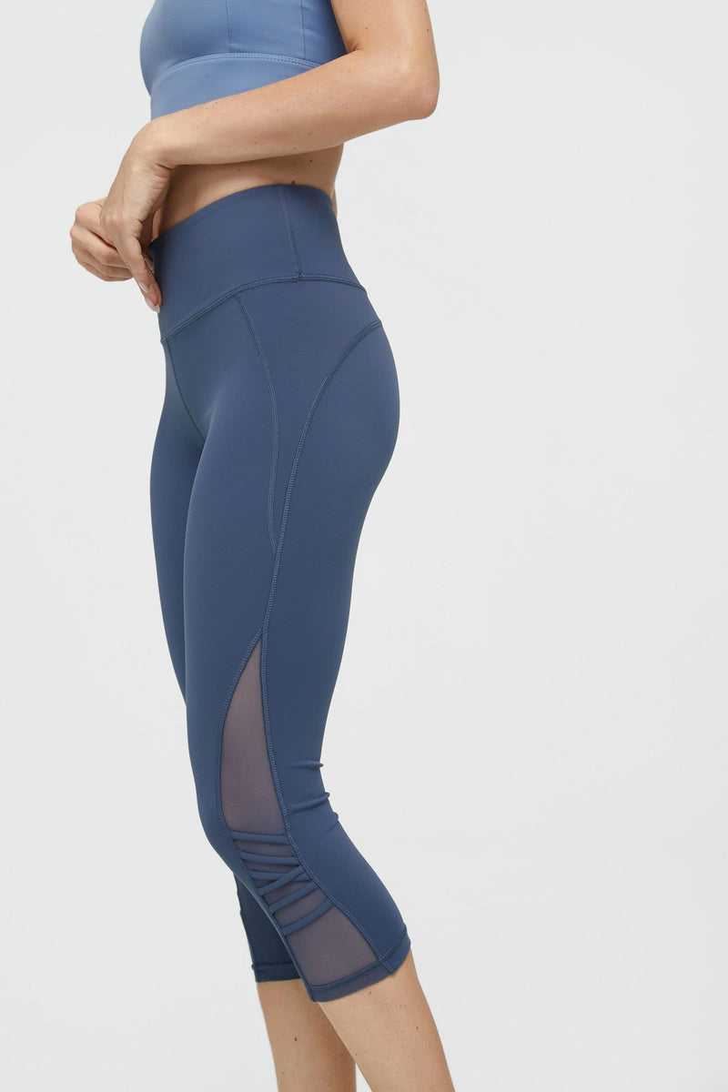 Core Blue Mesh Crop Leggings