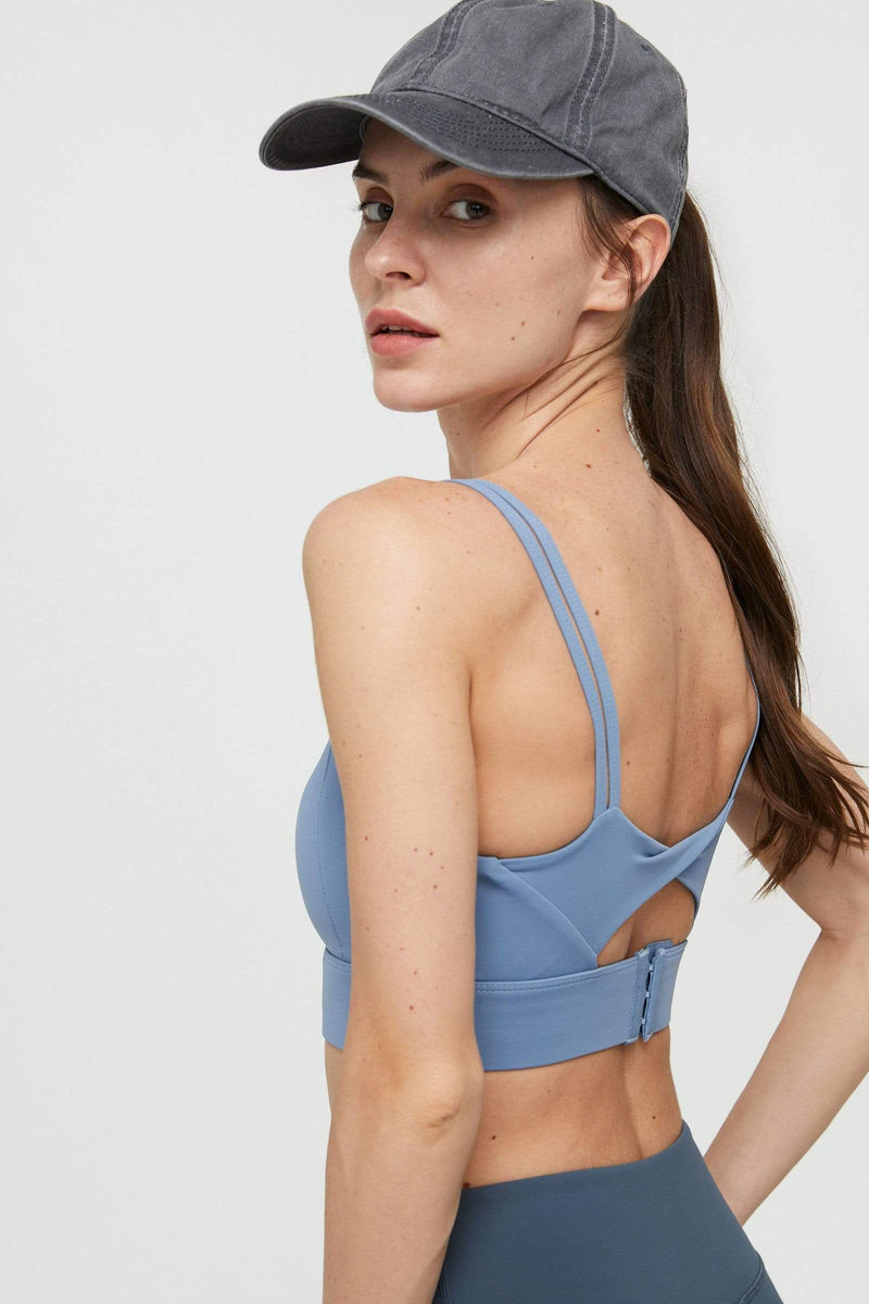 Electra Blue Double Strap Cutout Bra Top