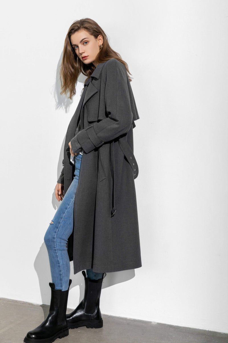 Mansour Charcoal Trench Coat