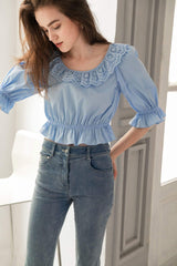 Ethel Blue Lace Collar Blouse