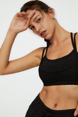 Carbon Black Diamond Mesh Bra Top