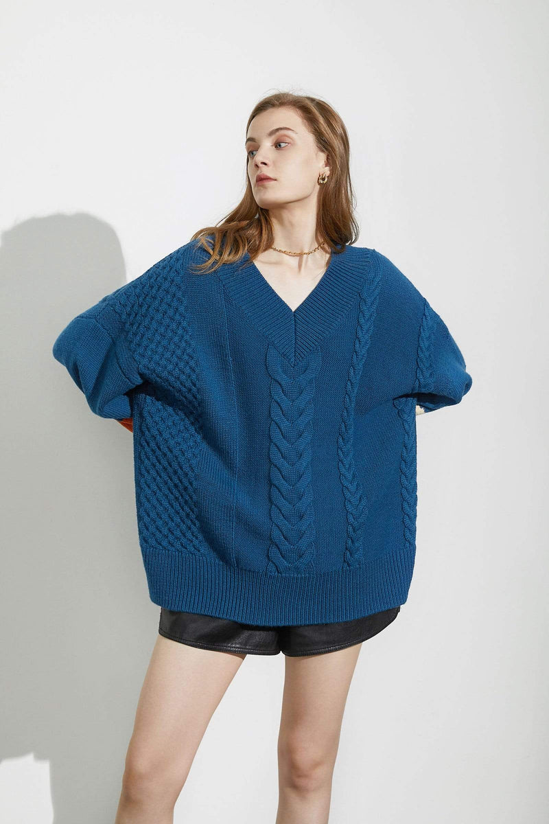 Big Blue Cable Knit Sweater
