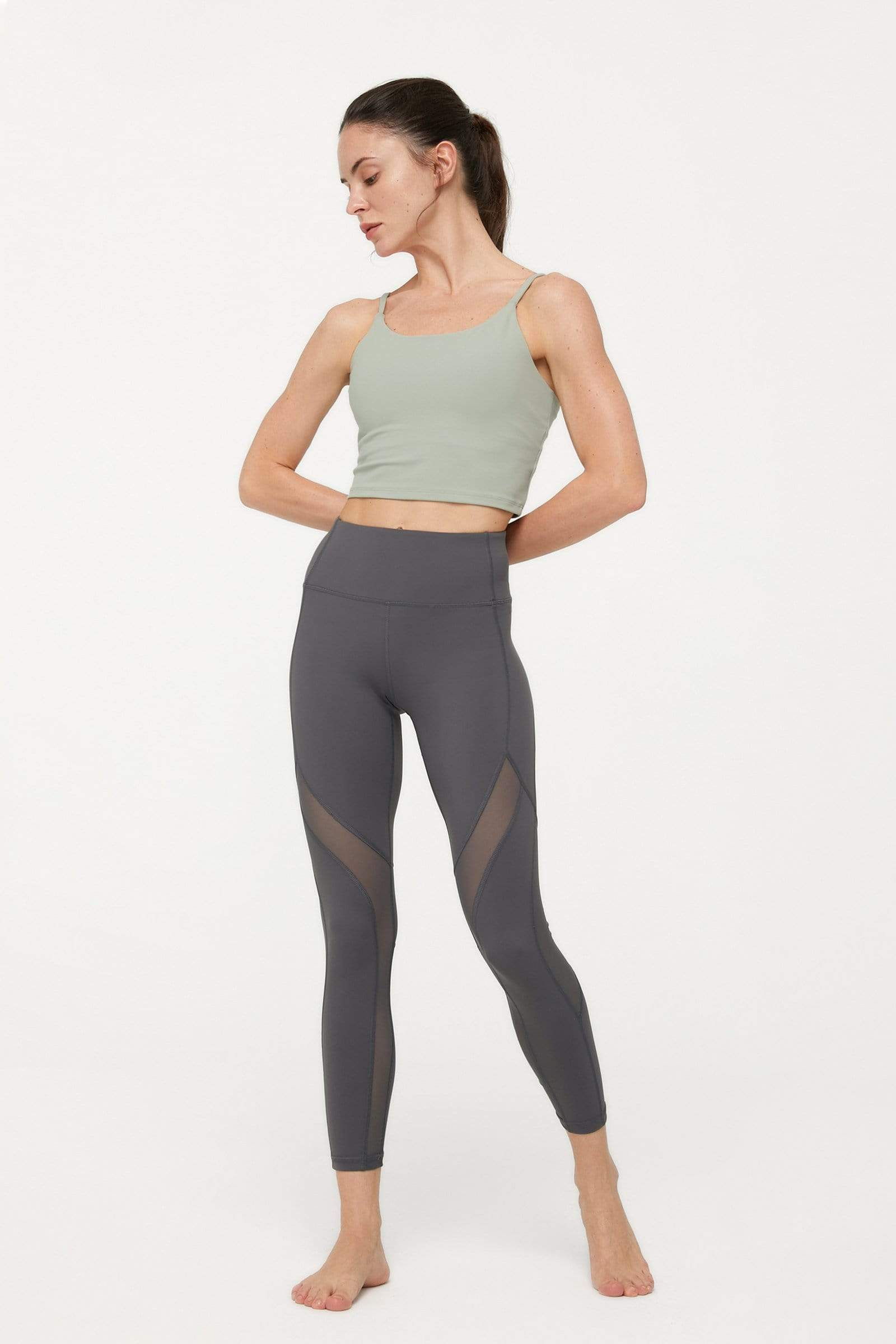 Deep Charcoal Mesh Panel Leggings