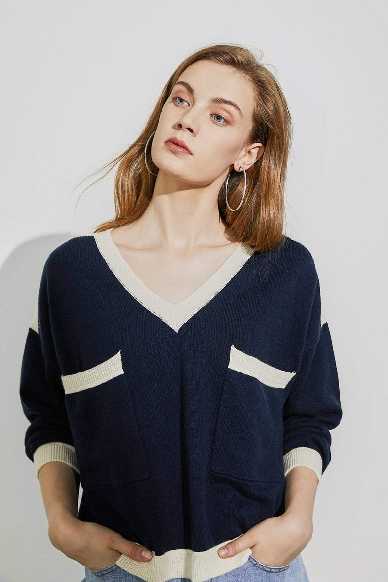 Maura Navy Colorblock Sweater
