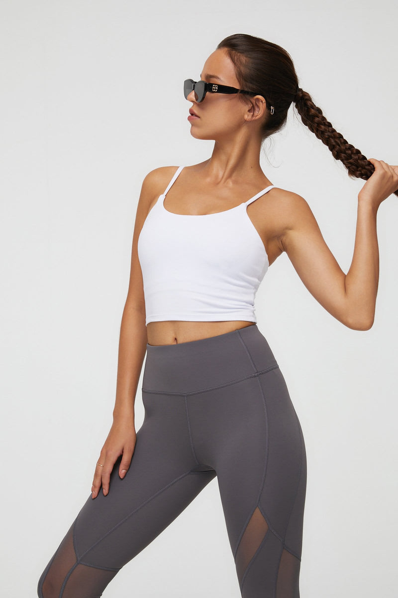 Canyon White Active Crop Tank