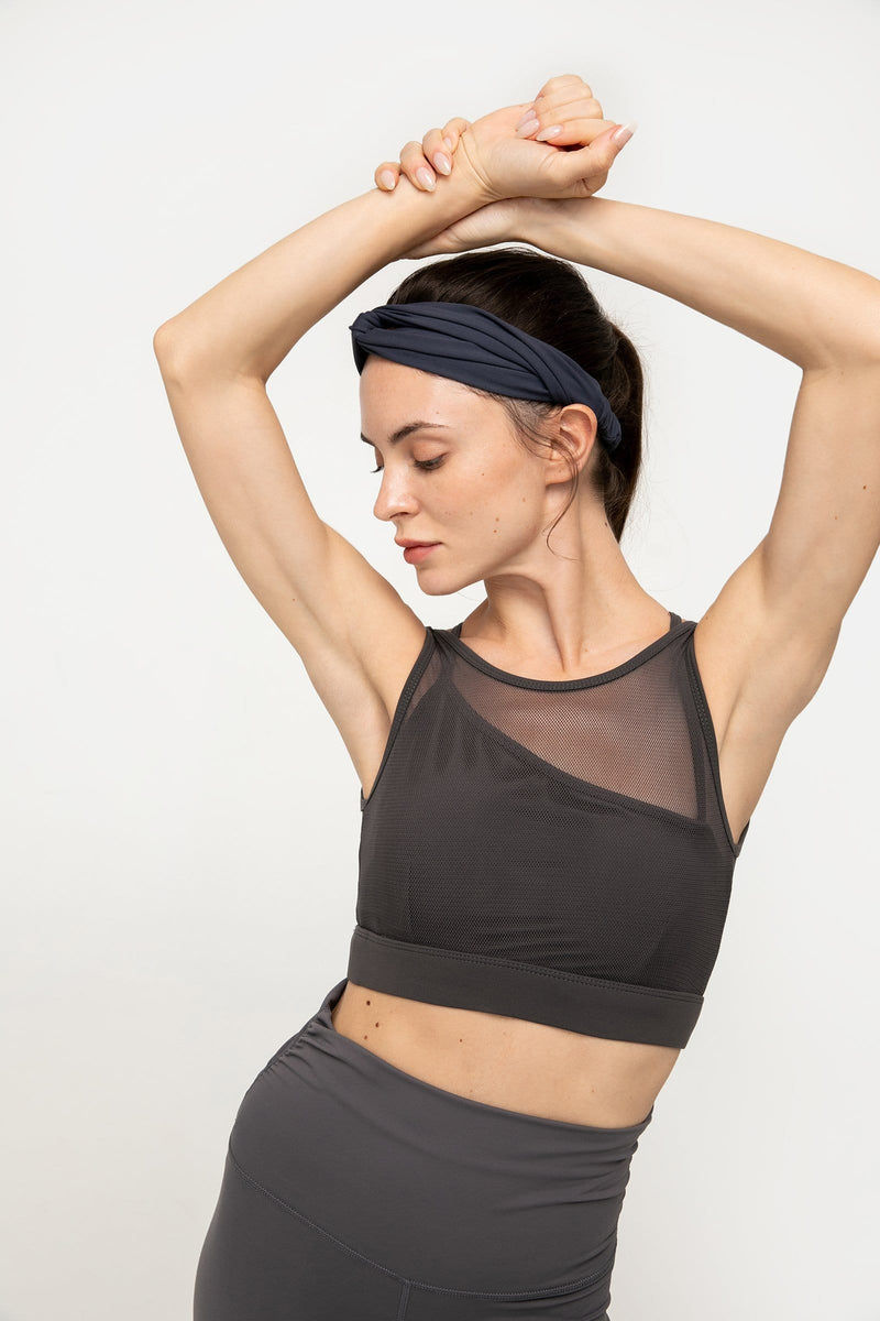 Charcoal Grey Mesh Bra Top