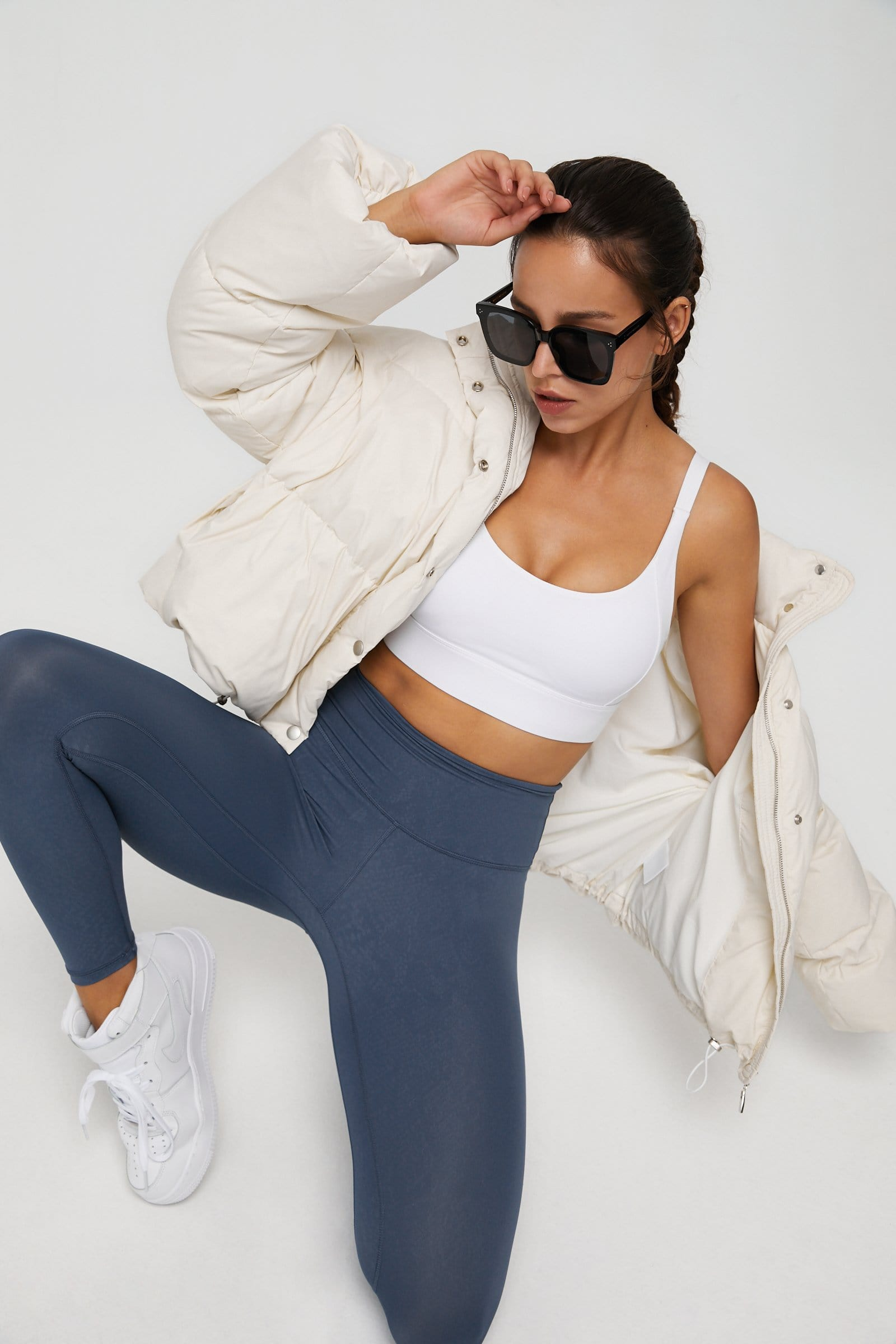 Cropped Ivory Puffer Jacket