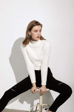 Basic White Turtleneck Sweater