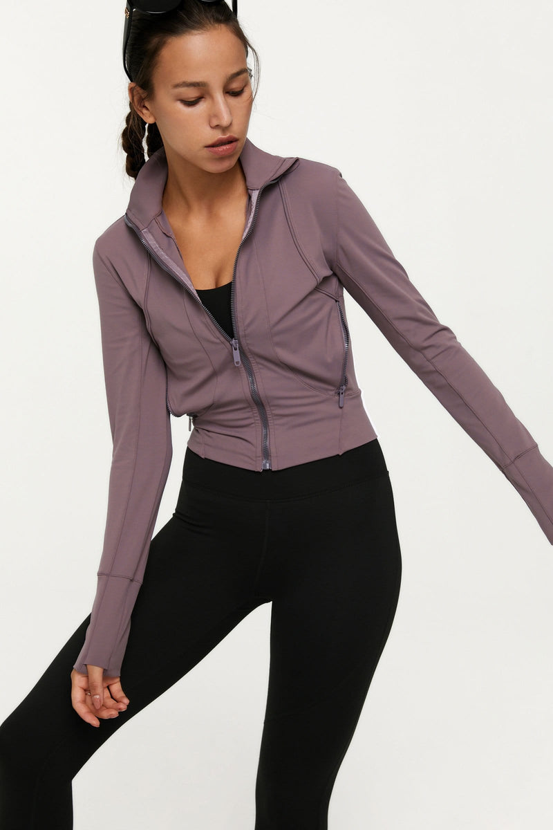 Plum Zip-Up Track Jacket
