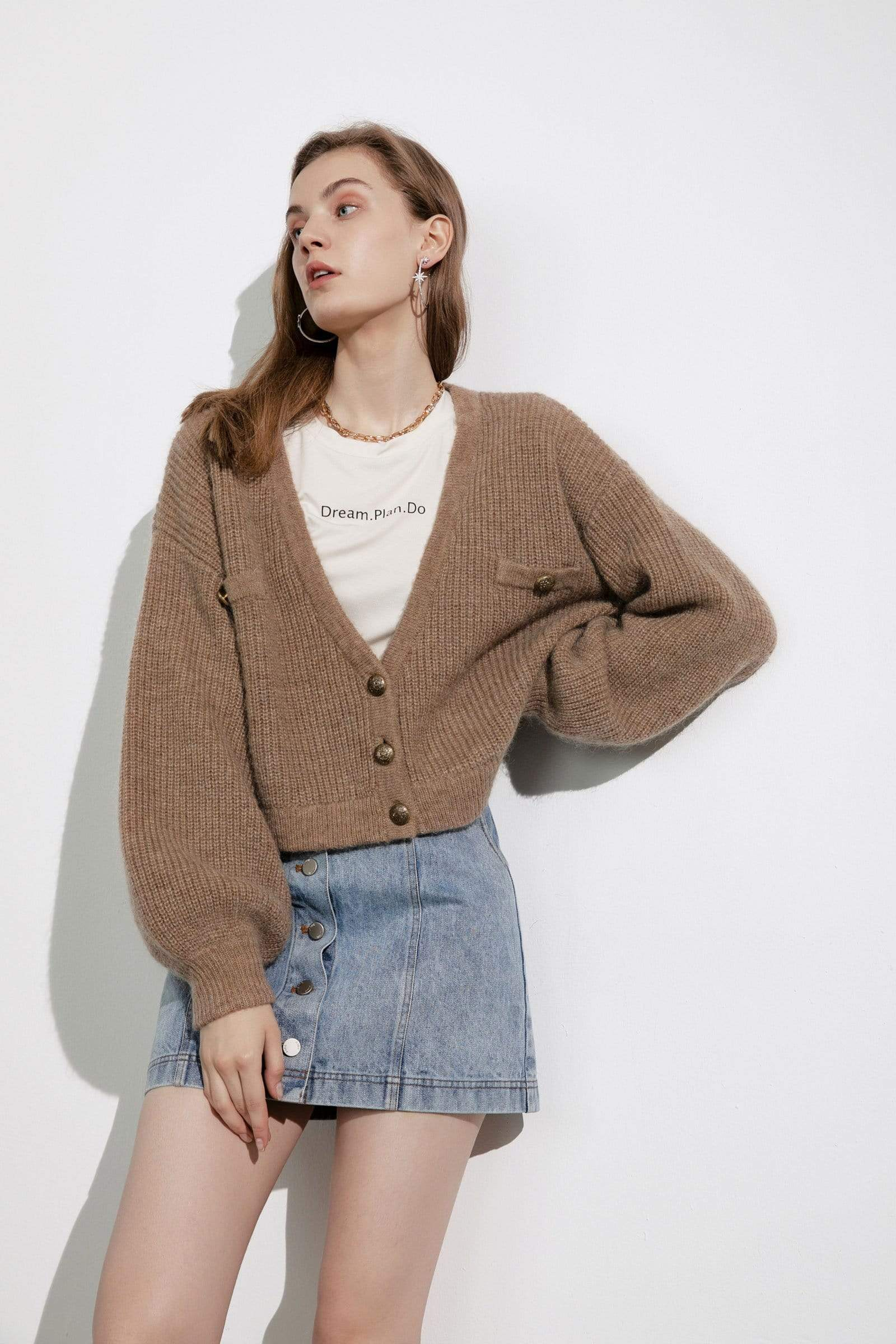 Elsie Brown Oversized Cardigan