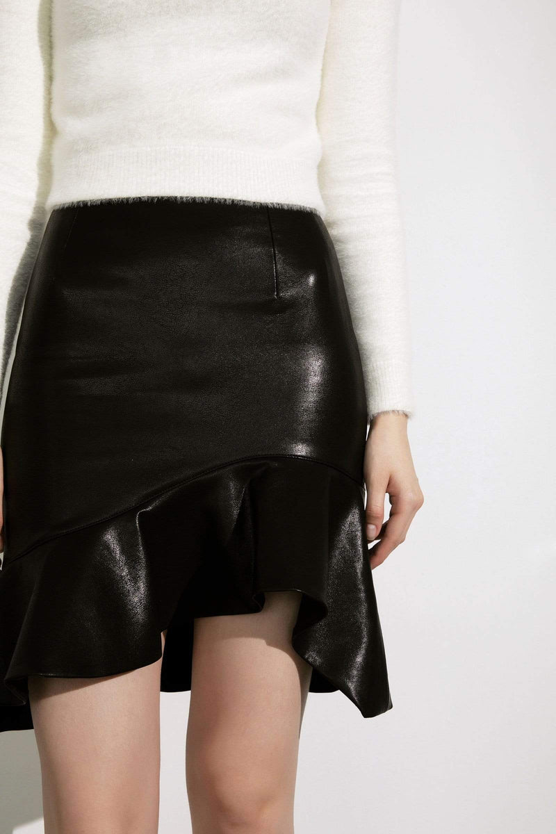 Selma Black Leather Asymmetrical Skirt