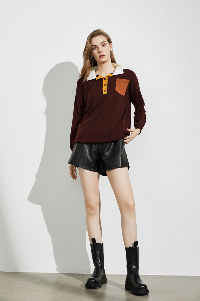 Maroon Play Polo Sweater