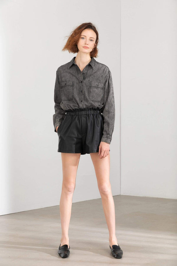 Daryll Black Smocked Leather Shorts