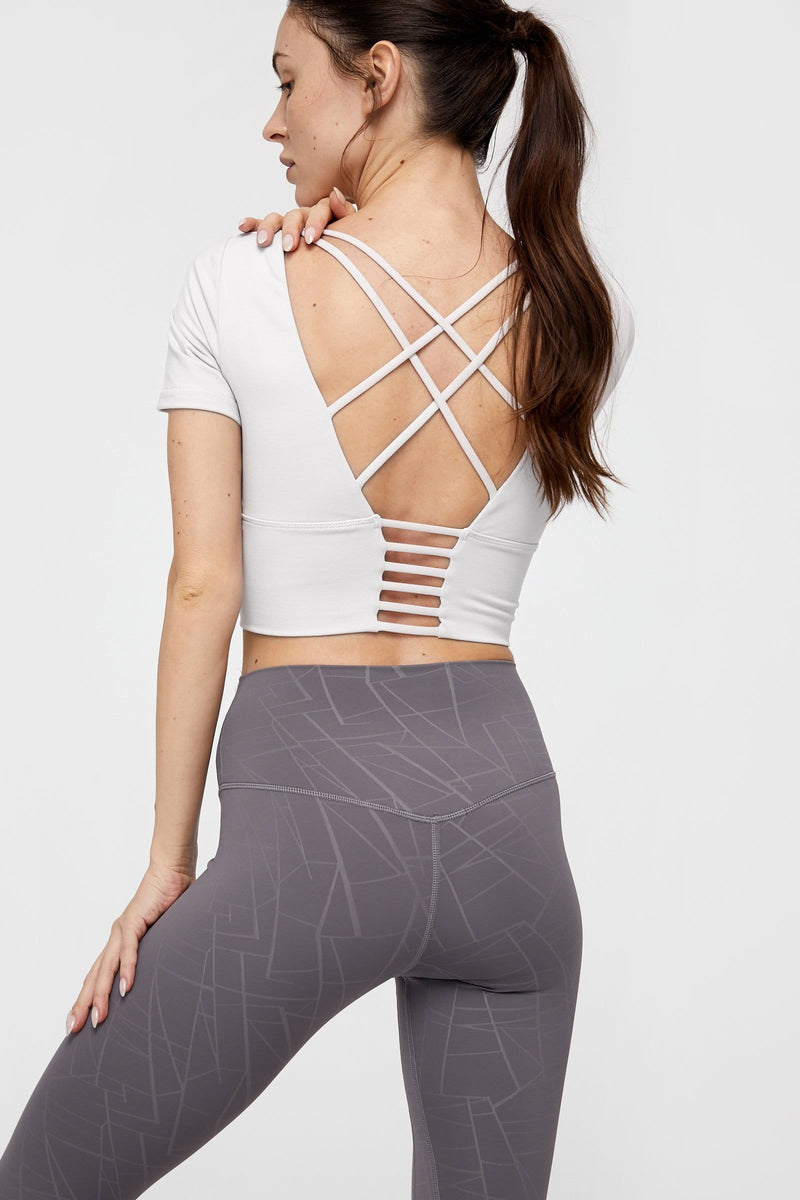 Opal White Strappy Back Performance Crop