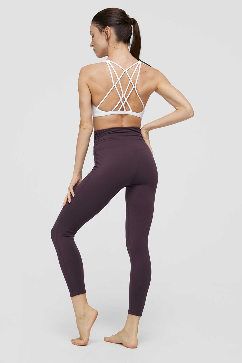 Purple Eggplant High-Waist Foldover Legging