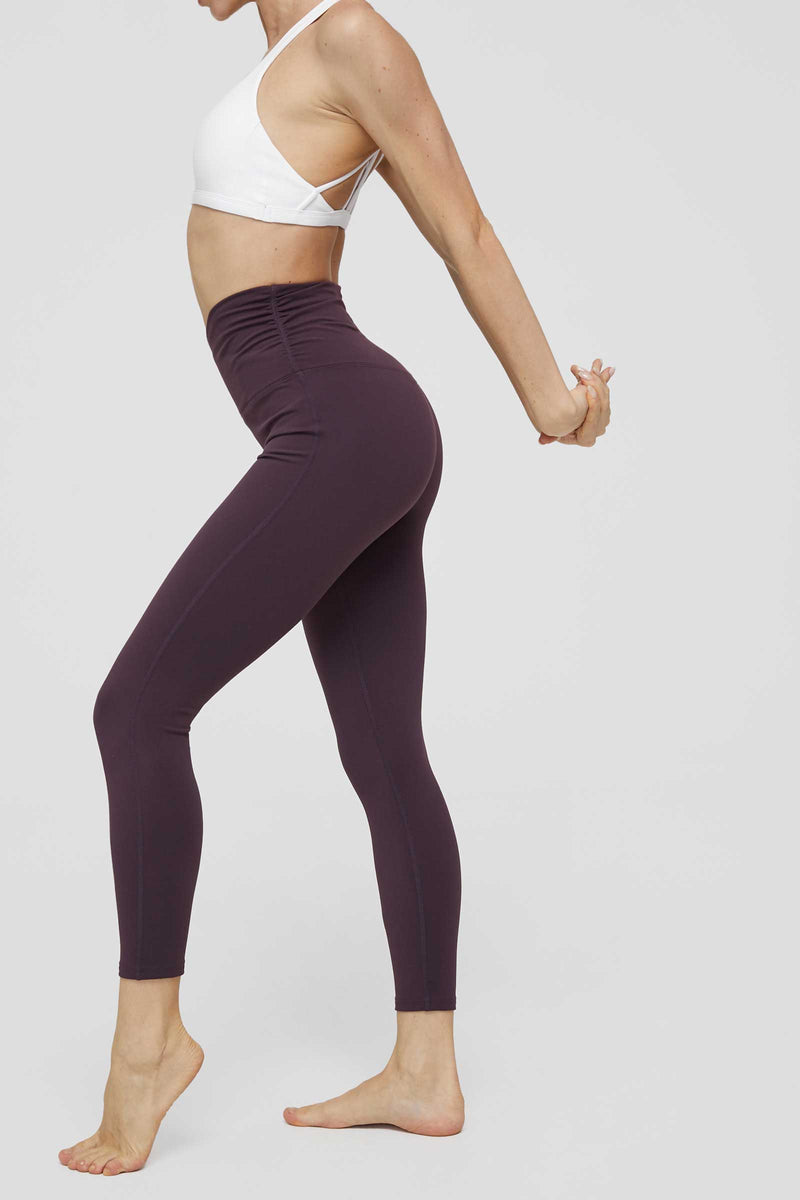 Purple Eggplant High-Waist Crossover Legging