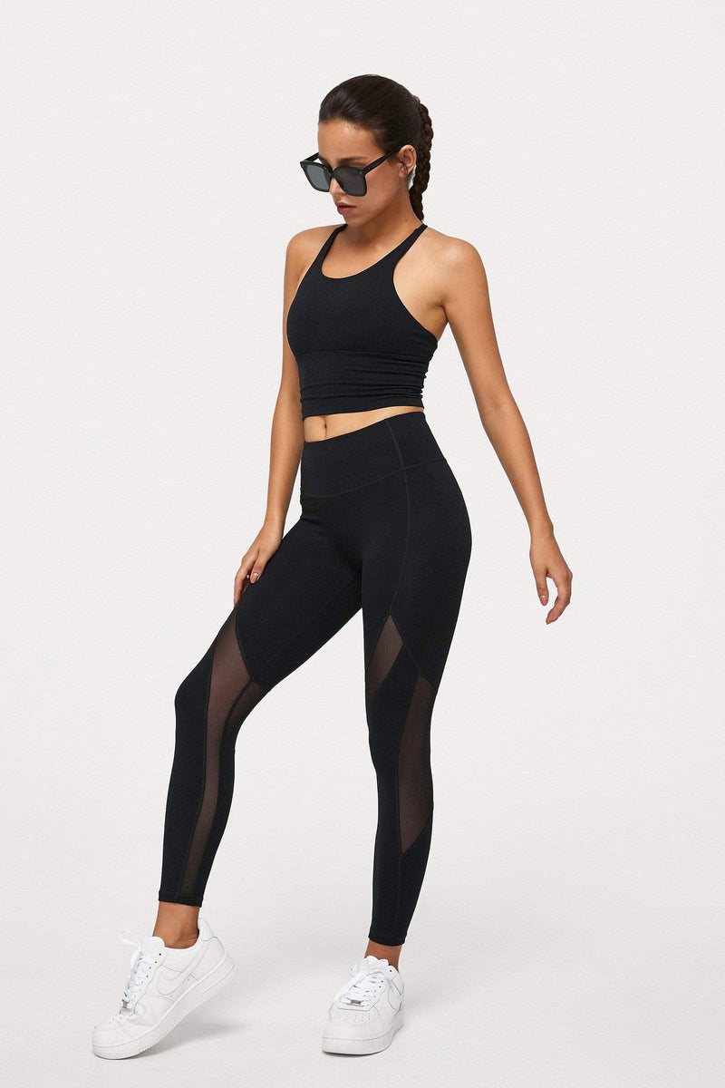 Carbon Black Mesh Panel Leggings