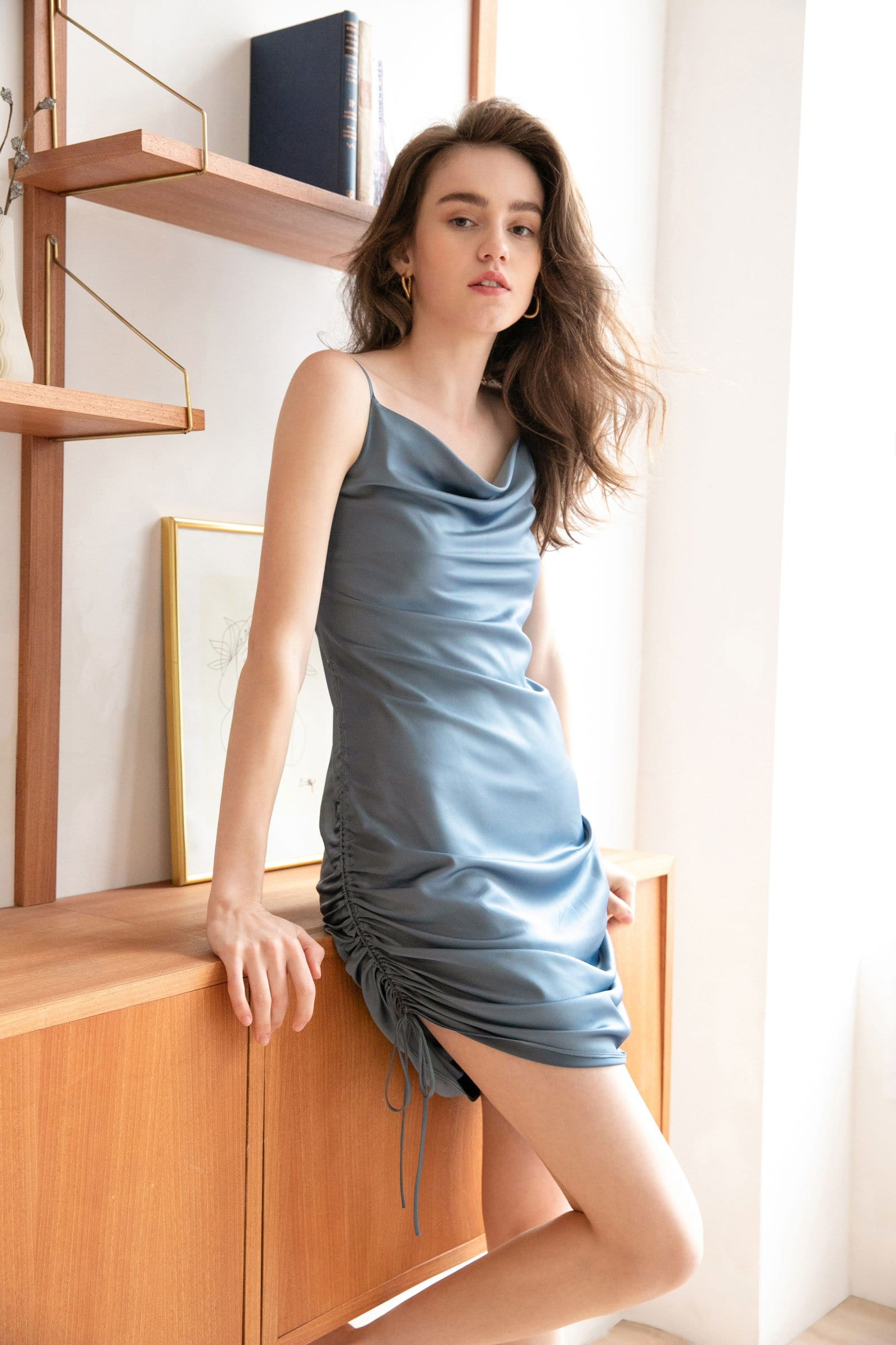 Aurelie Blue Ruched Mini Slip Dress