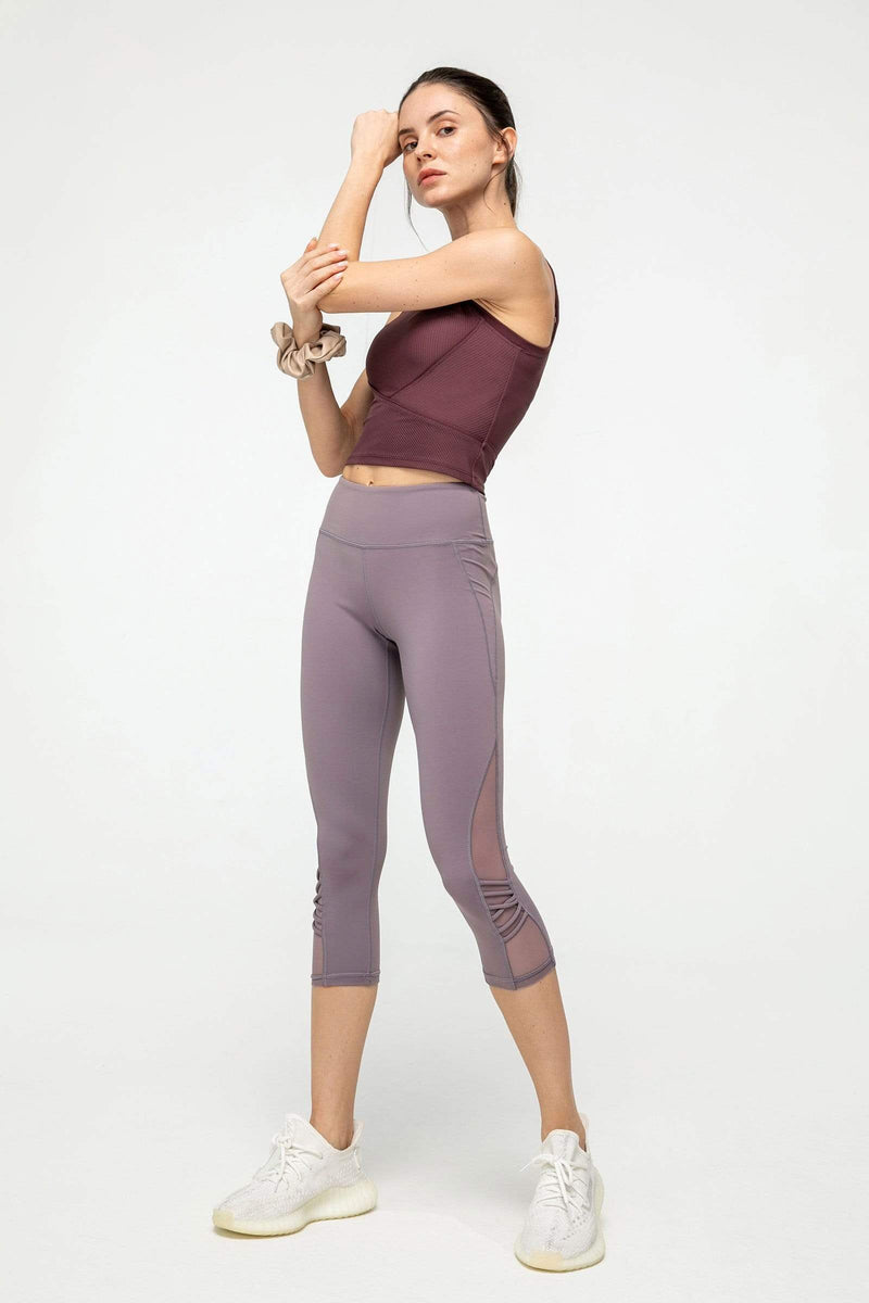 Powdered Violet Mesh Crop Leggings