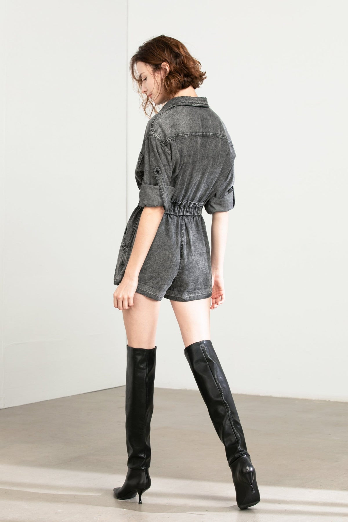 Ashley Grey Denim Romper