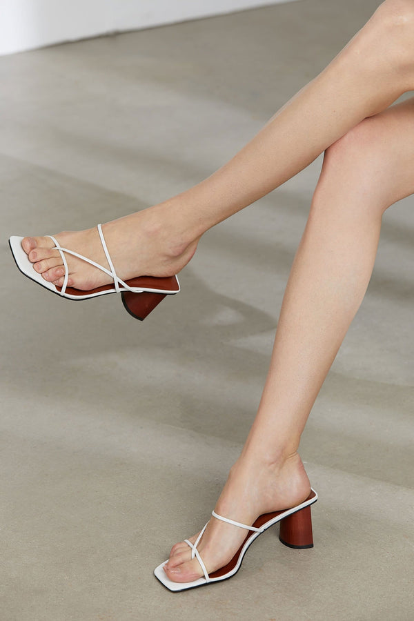 Alanis White Square Toed Sandals