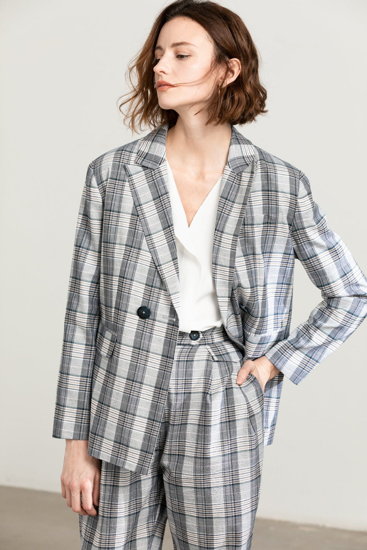 Ally Grey Checkered Blazer