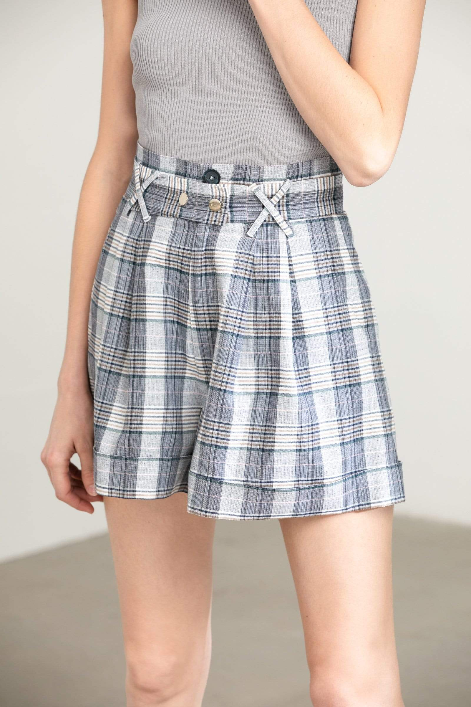 Ally Grey Checkered Shorts