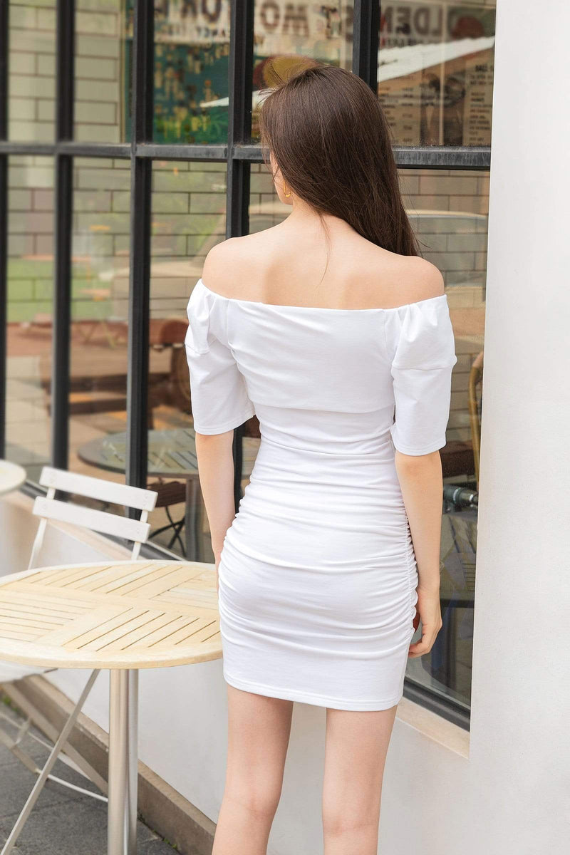 Essential White Ruched Mini Dress