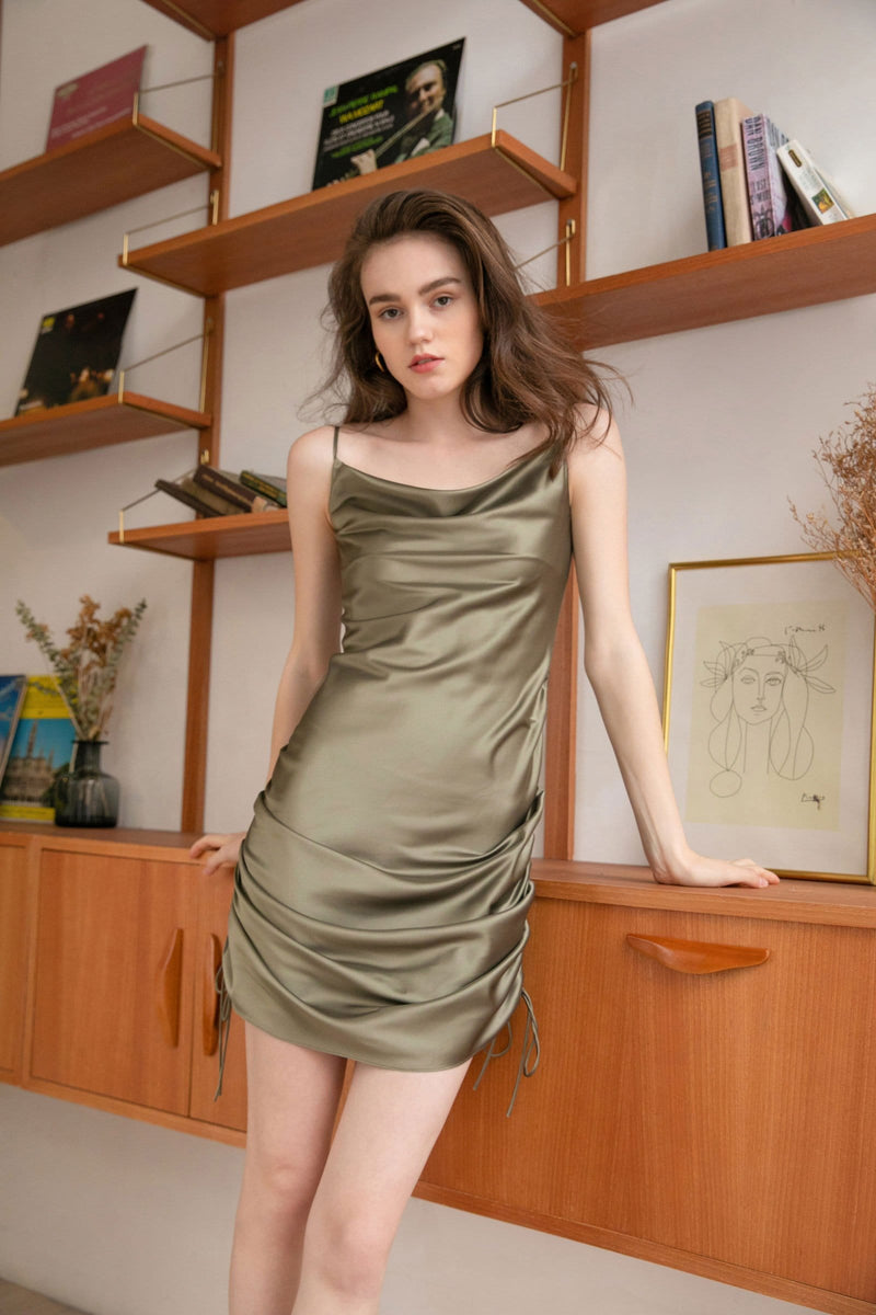 Olive Martini Ruched Mini Slip Dress