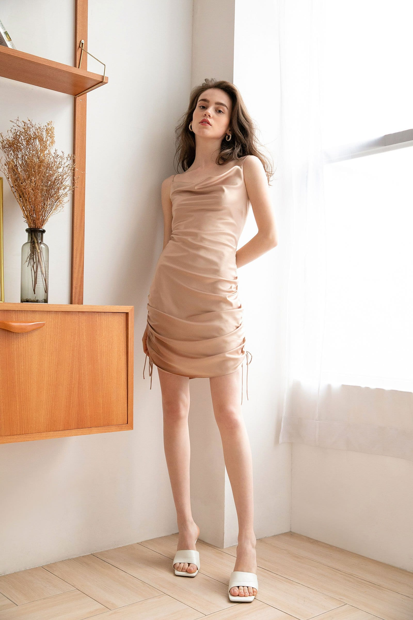 Champagne Gold Ruched Mini Slip Dress
