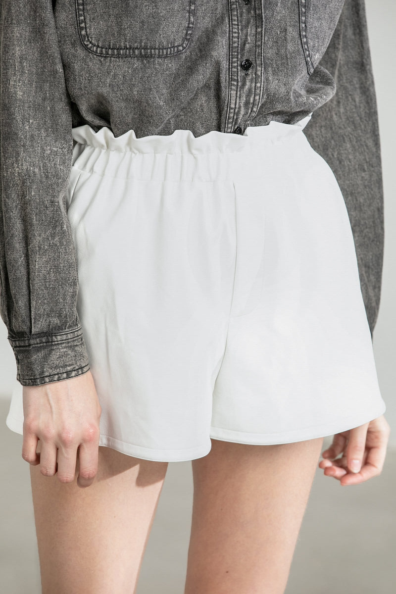 Sheena White Smocked Waist Shorts