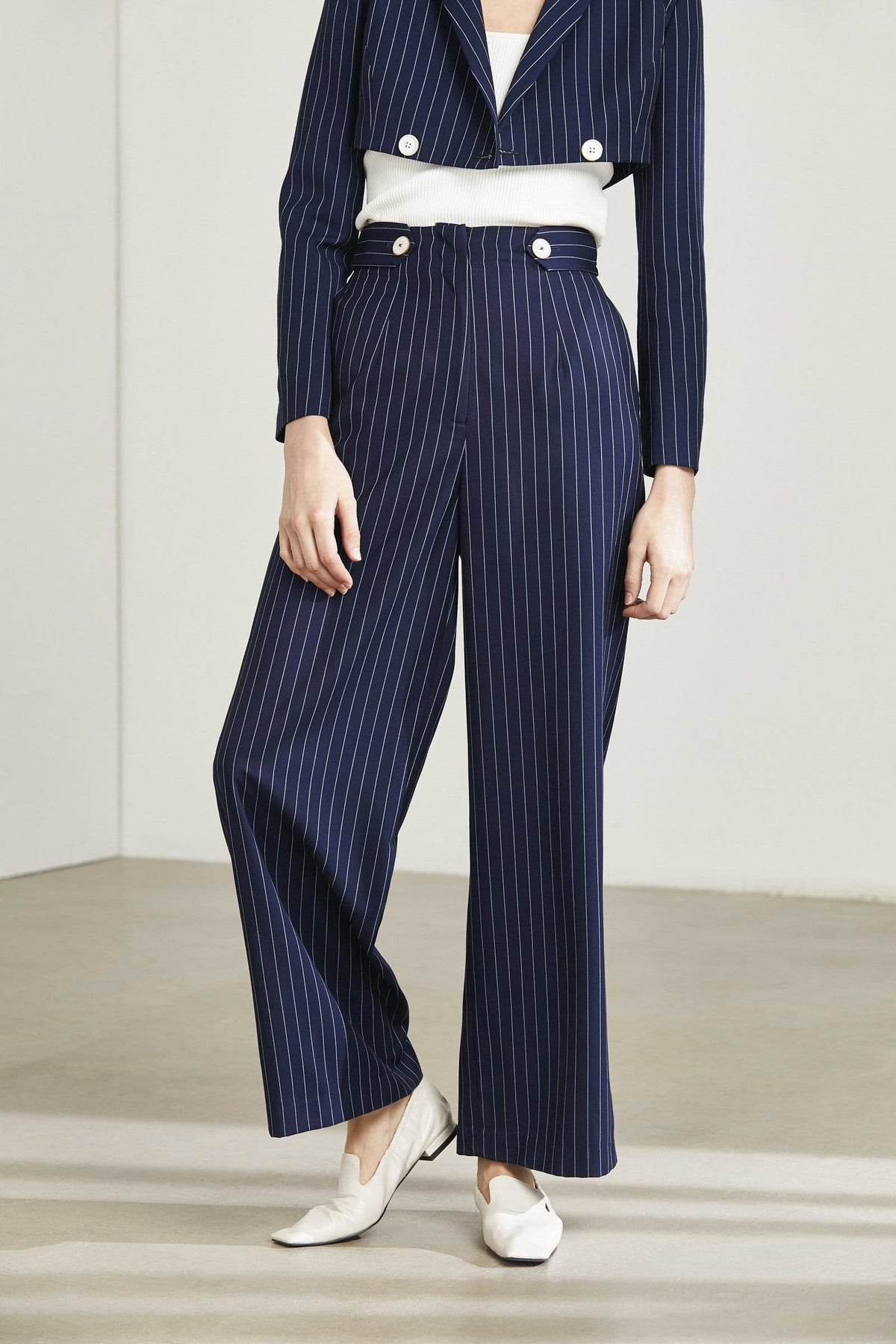 Navy Pinstriped Trousers