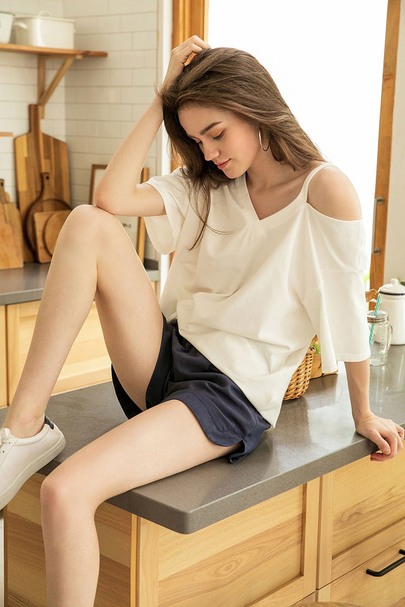 White Cutout Shoulder Tee