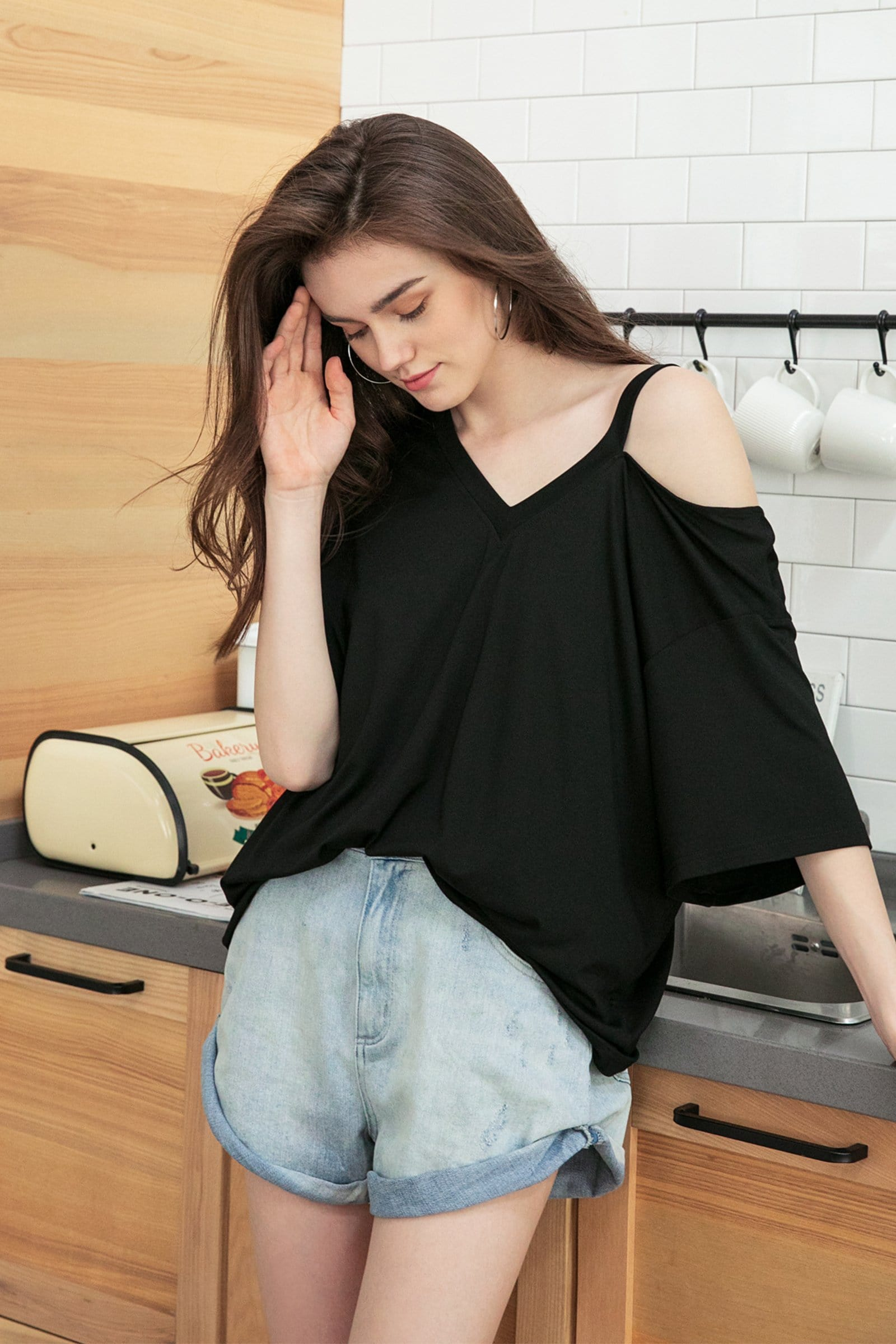 Black Cutout Shoulder Tee