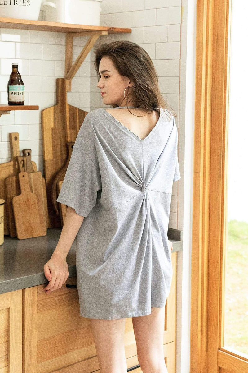 Grey Twist Back T-Shirt Dress