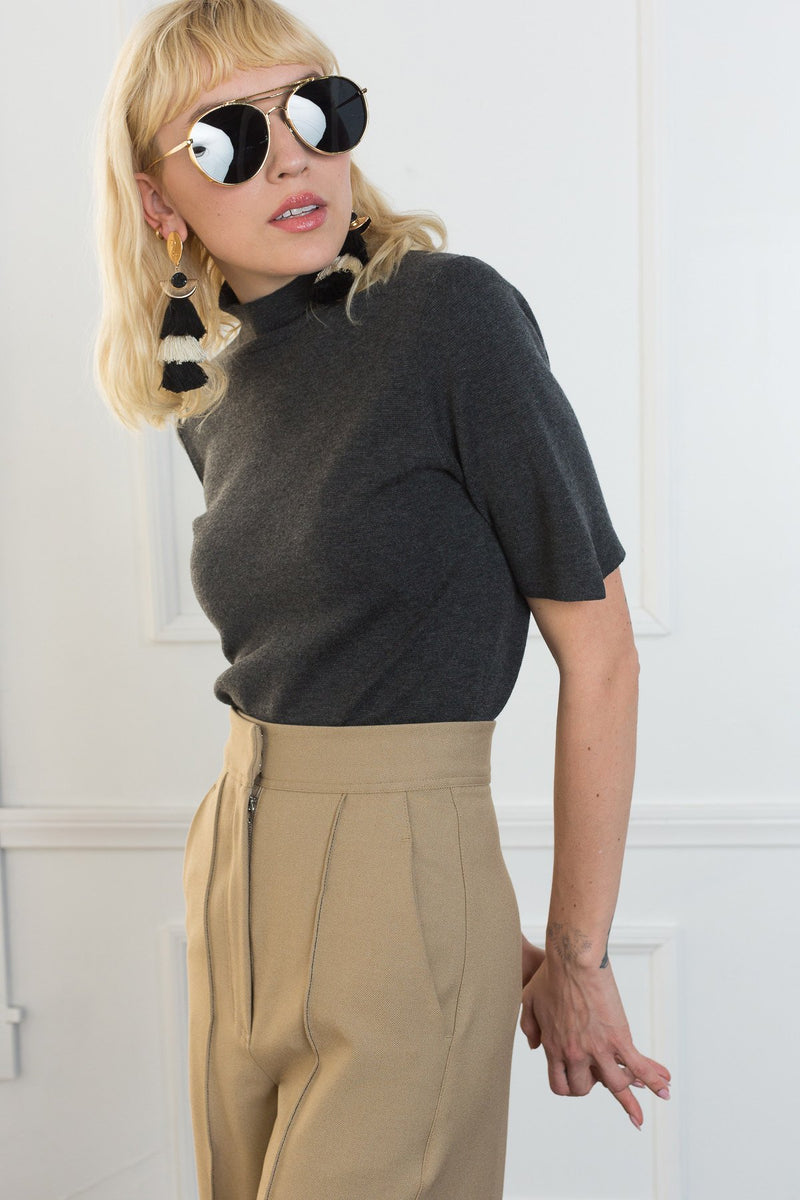 Stacy Knit Top Gray in Tops by J.ING - an L.A based women's fashion line
