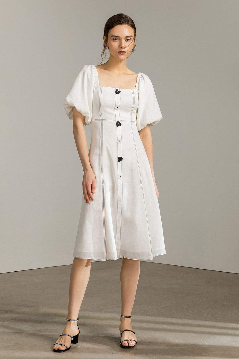 Kendra white Lantern Sleeve Midi Dress