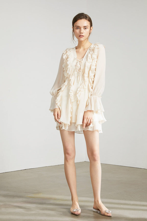 Frida Cream Ruffled Dress by J.ING Women's Apparel
