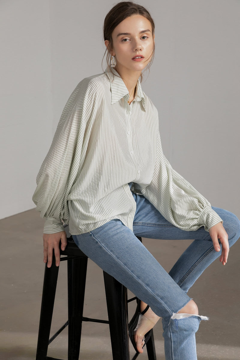 Paige Green Sheer Oversized Shirt