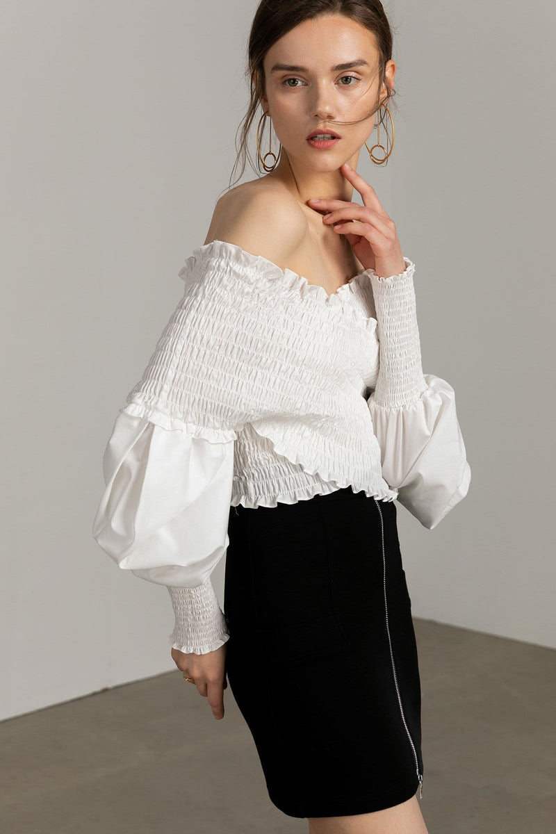 Off-the-shoulder stretch white top