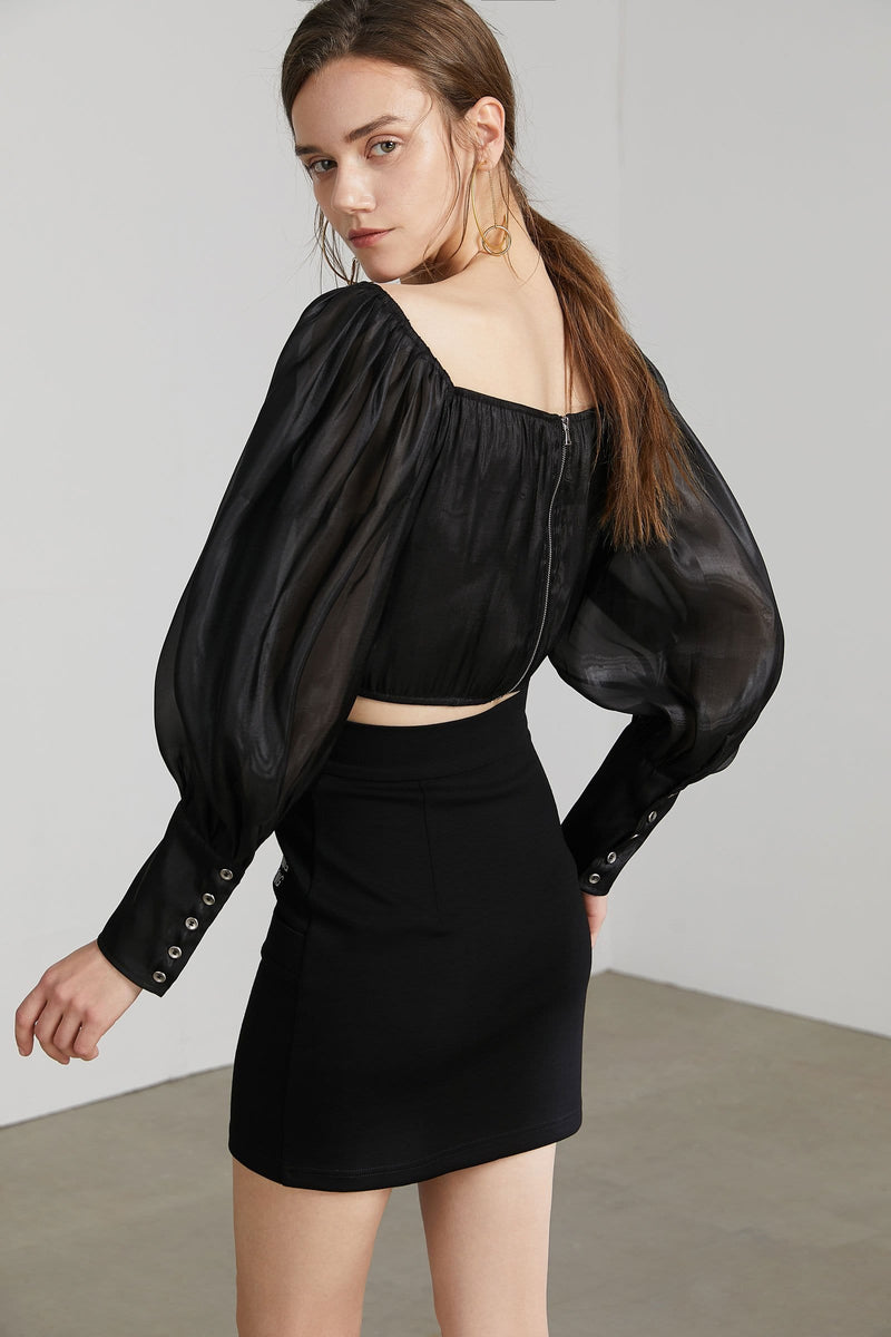 Beatrice Black Puff Sleeve Top
