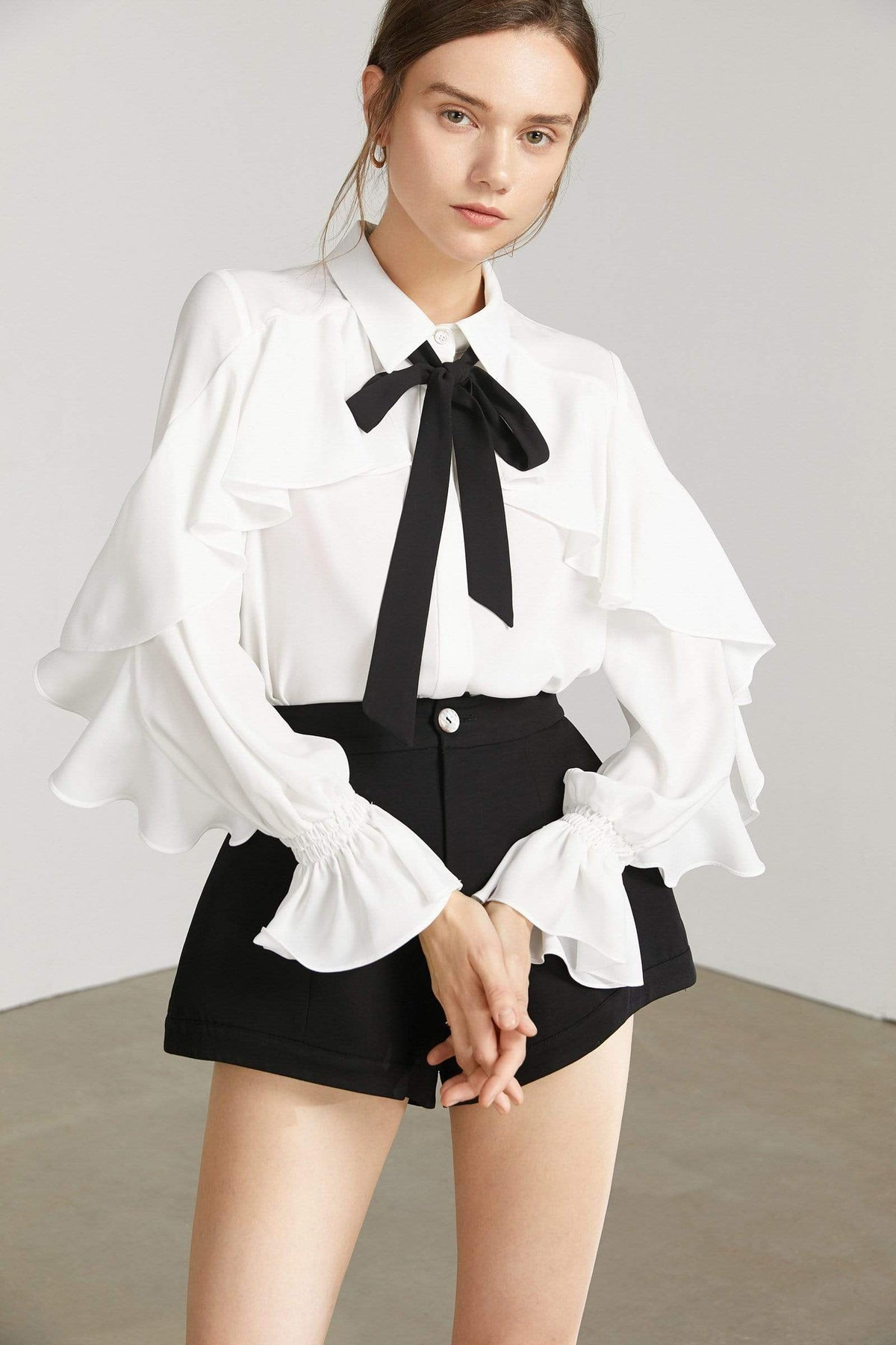 Oleander White Ruffled Blouse