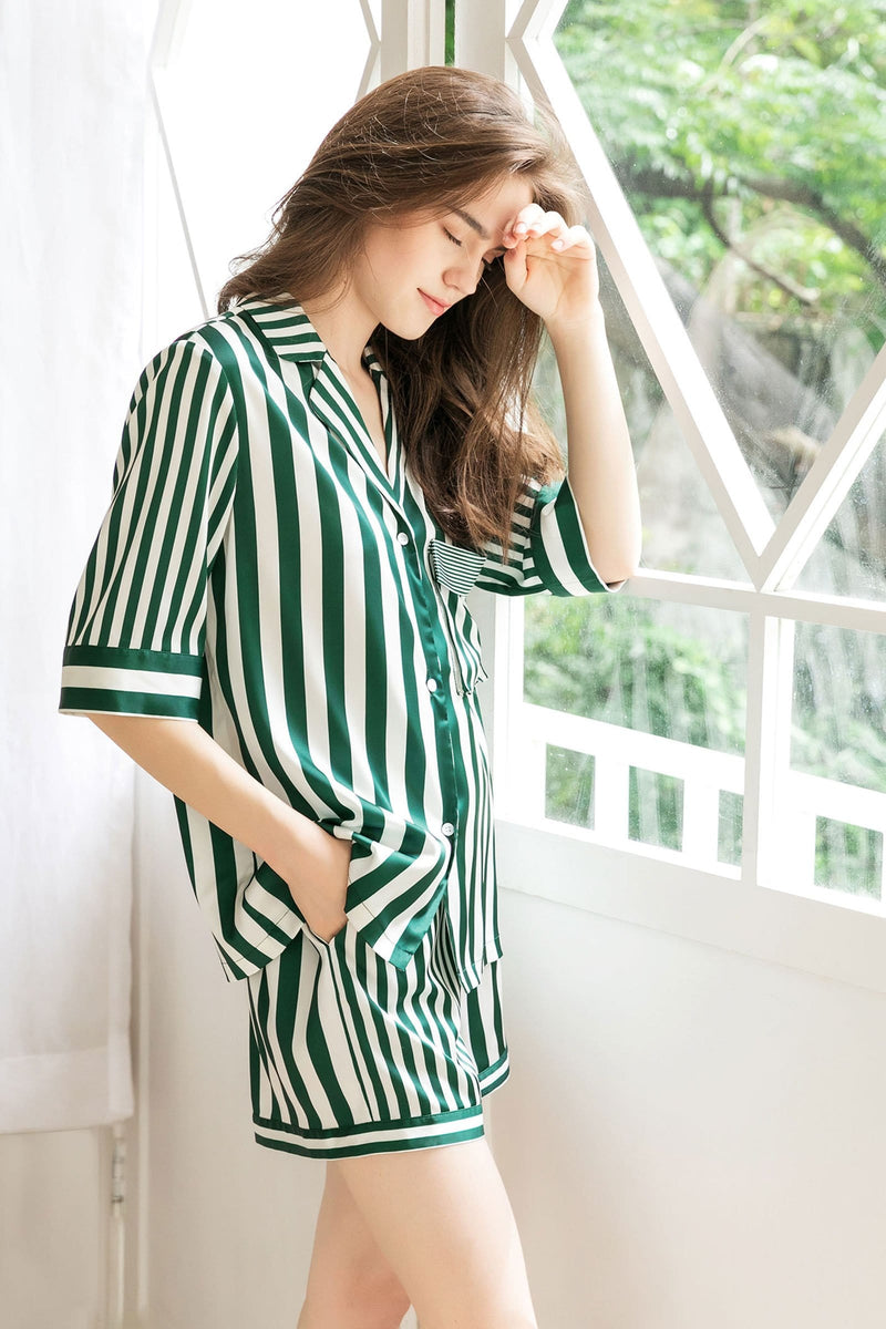 Lisette Green 2-Piece Sleep Set (Shirt & Shorts)