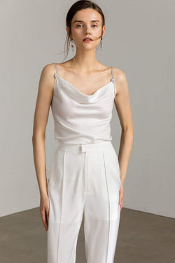 Pearlescent white silky cowl neck spaghetti strap top by J.ING