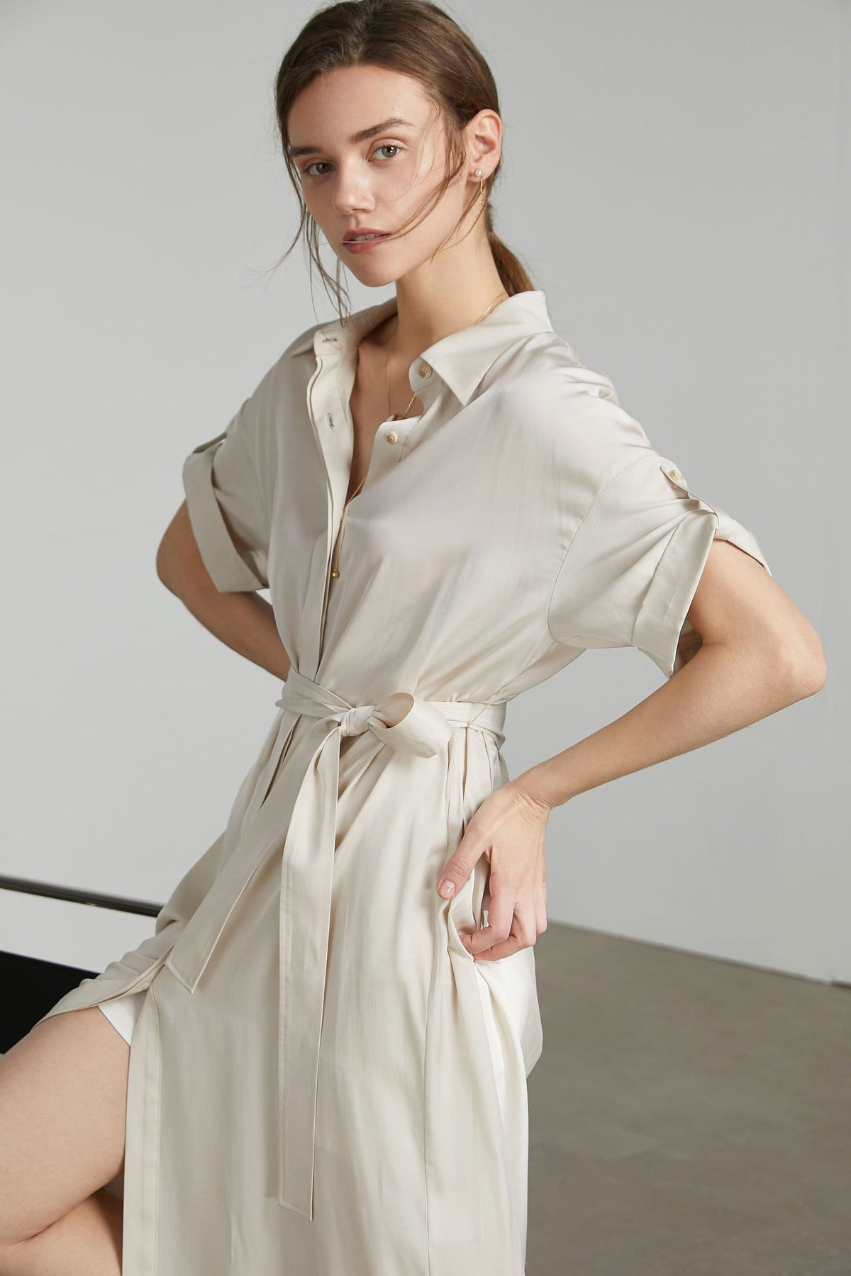 Adelaide White Midi Shirt Dress
