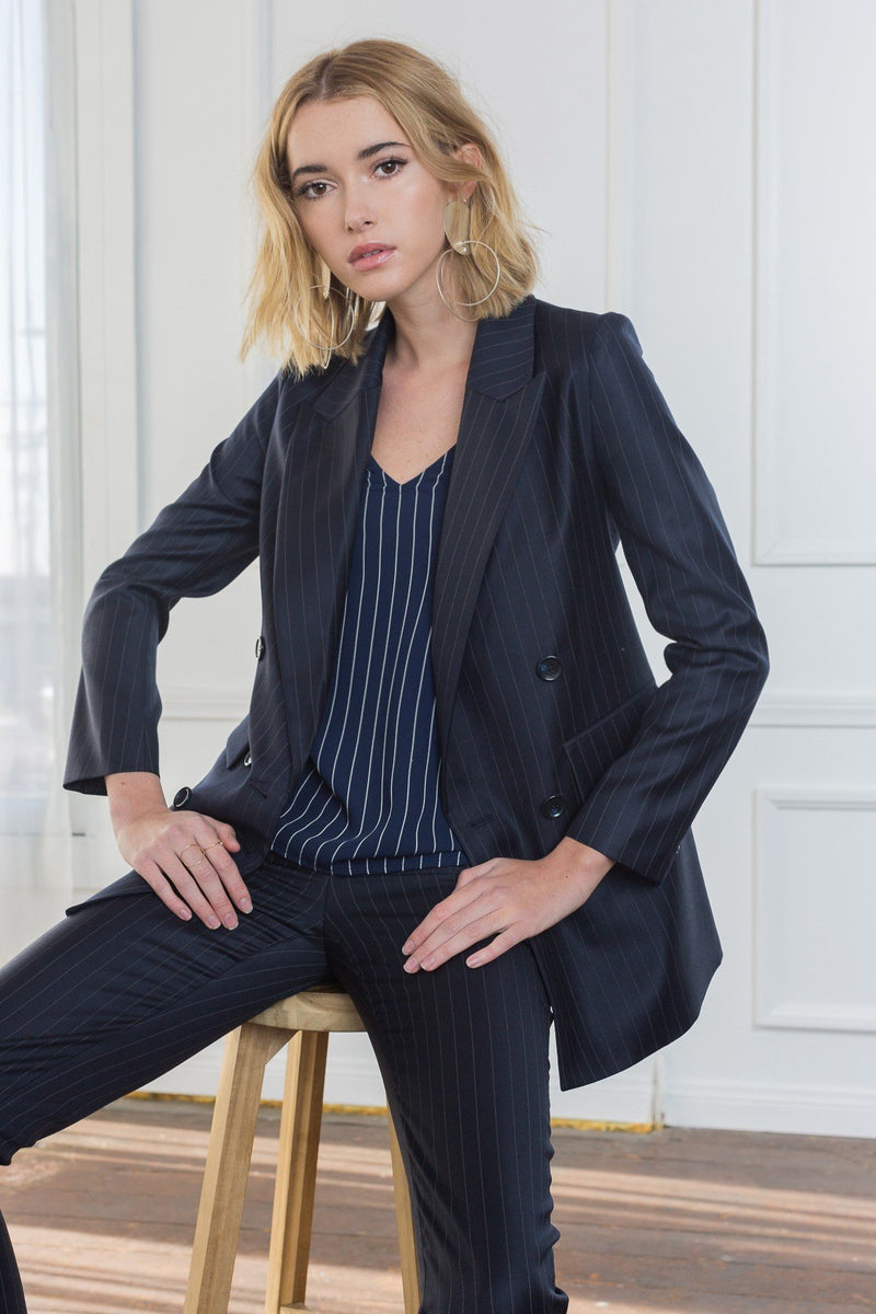 Gabi Double Breasted Striped Blazer in Coats & Jackets by J.ING - an L.A based women's fashion line