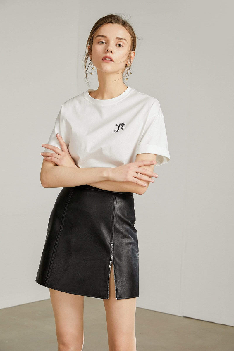 Gabe Black Side Zip Leather Mini Skirt