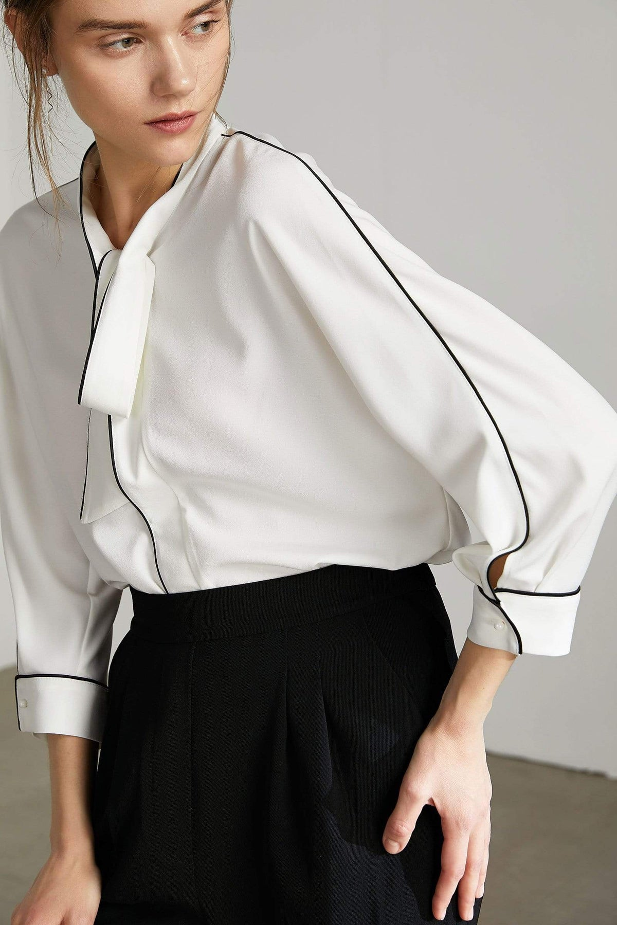 Bolt White Contrast Top