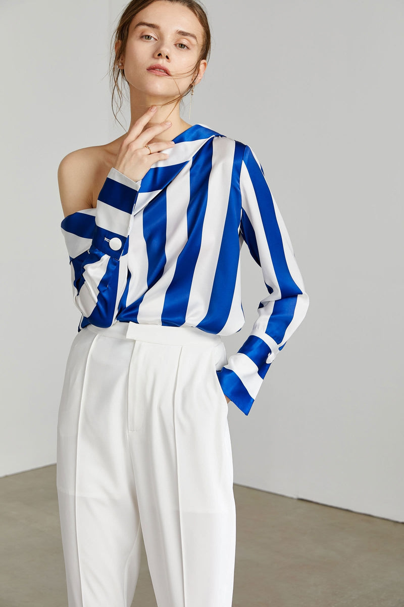 Stryker Silky Blue Striped Blouse
