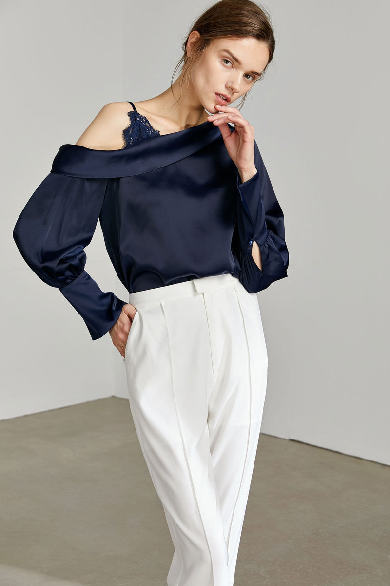 Courtney Navy Silky Blouse